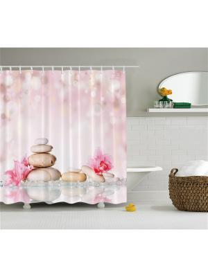 Фотоштора для ванной Нежные цветы, 180*200 см Magic Lady. Цвет: розовый, белый, молочный, бледно-розовый