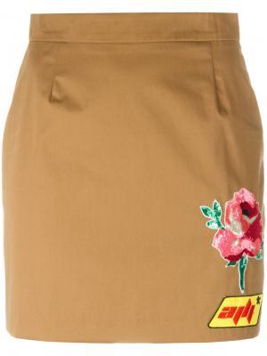 Юбка с нашивками Au Jour Le. Цвет: коричневый