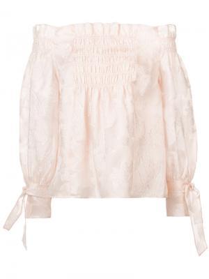 Блузка с открытыми плечами Rebecca Taylor. Цвет: розовый и фиолетовый