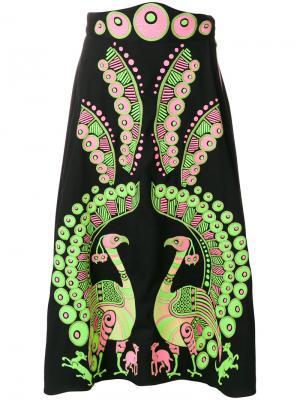 Платье с вышивкой Peacock Yuliya Magdych. Цвет: чёрный