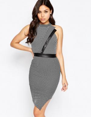 Amy Childs Асимметричное платье с высокой горловиной Tamara. Цвет: серый