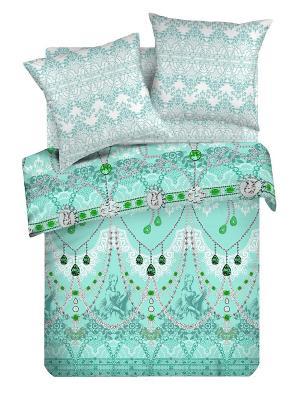 Комплект постельного белья 2,0 перкаль Роскошь Романтика. Цвет: серо-зеленый, серебристый