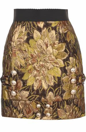 Мини-юбка с декоративной отделкой Dolce & Gabbana. Цвет: золотой