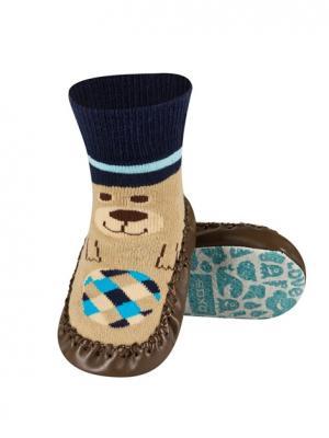 Тапочки-носочки детские SOXO. Цвет: темно-синий, коричневый, бежевый
