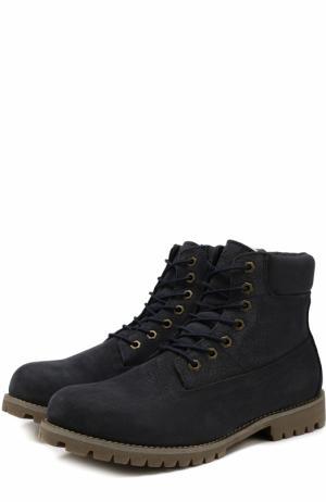 Кожаные ботинки New York на шнуровке Affex. Цвет: темно-синий