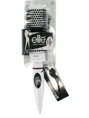 Круглая массажная щетка с зубьями керамическими головками-средняя ELITE.. Цвет: белый, серебристый, черный