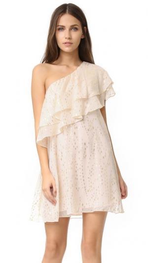 Платье с открытым плечом и оборками Rachel Zoe. Цвет: нежно-розовый/золото
