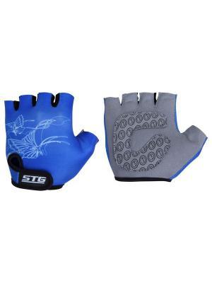 Велоперчатки STG. Цвет: синий, серый