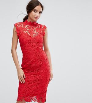 Paper Dolls Кружевное платье-футляр с высоким воротом. Цвет: красный