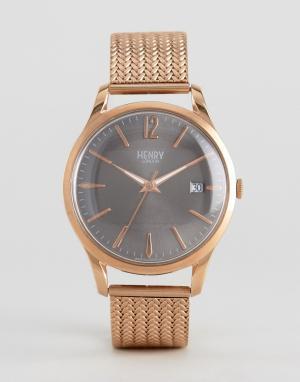 Henry London Золотистые часы на сетчатом ремешке Finchley. Цвет: золотой