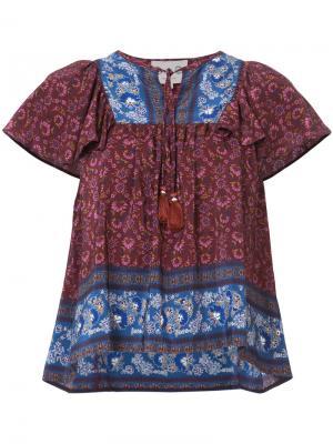 Блузка с кисточками и цветочным узором Sea. Цвет: красный