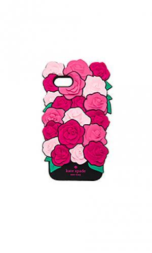 Силиконовый кейс для iphone 7 с рисунком роза kate spade new york. Цвет: фуксия