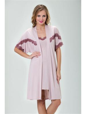 Комплект сорочка и пеньюар MARIPOSA. Цвет: бледно-розовый