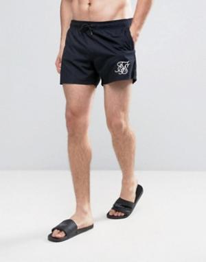 SikSilk Черные шорты для плавания в стиле ретро. Цвет: черный