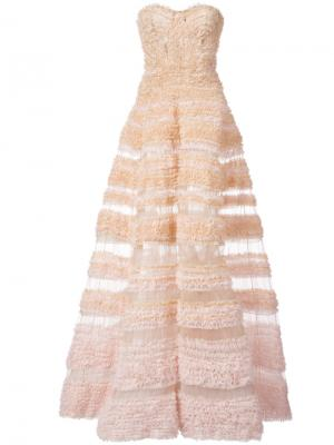 Бальное платье А-образного силуэта с оборками J. Mendel. Цвет: розовый и фиолетовый