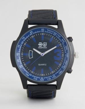 Crosshatch Черные часы с синими указателями. Цвет: черный
