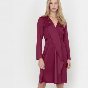 Платье с запахом длинными рукавами La Redoute Collections. Цвет: красно-фиолетовый,черный