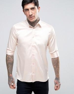 Rogues of London Атласная рубашка скинни. Цвет: розовый