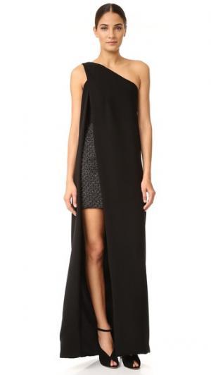 Вечернее платье с открытым плечом и подкладкой в виде мини-платья Monique Lhuillier. Цвет: черный/черный