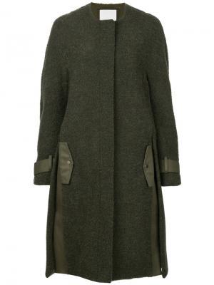 Пальто букле Dion Lee. Цвет: зелёный