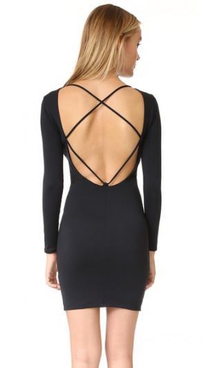 Платье с полосками ткани сзади David Lerner. Цвет: классический черный