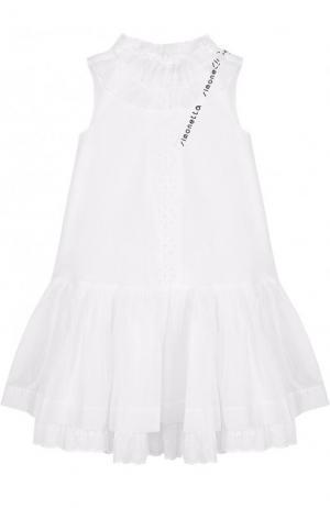 Хлопковое платье А-силуэта с декоративным воротником и бантом Simonetta. Цвет: белый