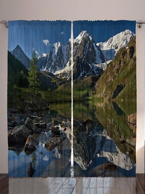 Комплект фотоштор из полиэстера высокой плотности Красота гор, 290*265 см Magic Lady. Цвет: синий