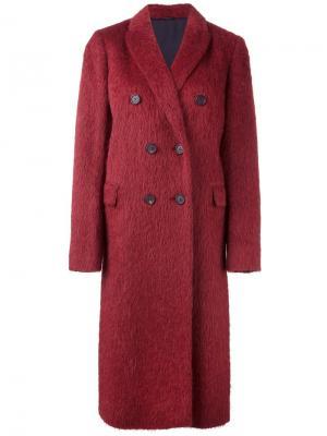 Двубортное пальто Brunello Cucinelli. Цвет: красный