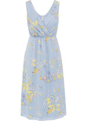 Платье (синяя пудра/рисунок с бабочками) bonprix. Цвет: синяя пудра/рисунок с бабочками