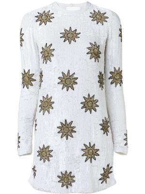 Платье с пайетками Beau Souci. Цвет: белый
