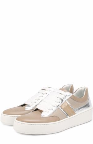 Комбинированные кроссовки на шнуровке Sergio Rossi. Цвет: бежевый