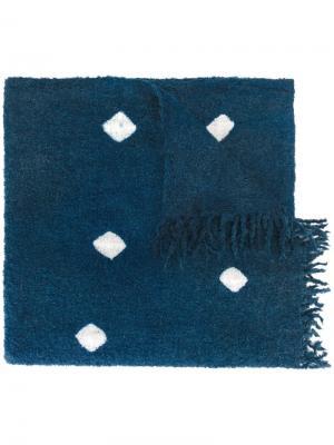 Шарф с квадратным узором Suzusan. Цвет: синий