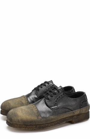 Кожаные дерби на шнуровке с внутренней меховой отделкой Rocco P.. Цвет: черный