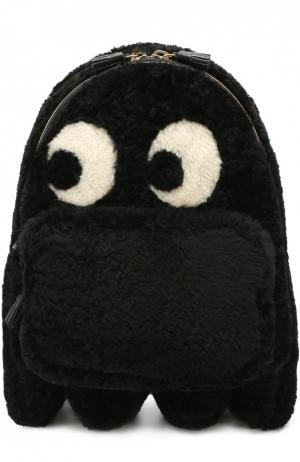 Рюкзак Ghost Mini с отделкой овчиной Anya Hindmarch. Цвет: черный