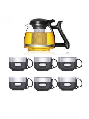 Набор LP-SY1207 Стеклянный чайник заварочный 1200 мл, с фильтром + 6 чашек х 150 мл Veitron. Цвет: прозрачный, черный