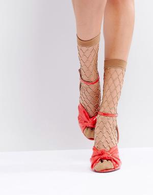 ASOS Сетчатые носки с блестками. Цвет: золотой