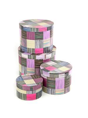 Коробка картонная, набор из 4 шт. 13,5*13,5*8-23*23*16 см. Сиреневое сияние VELD-CO. Цвет: сиреневый, фиолетовый, фуксия