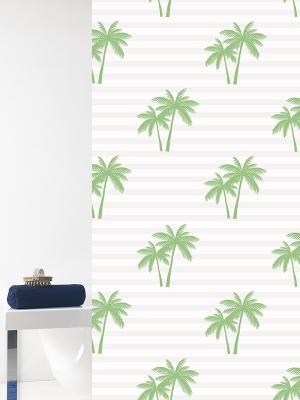 Штора д/ванн 180х200 Palme зел. (шт.) Bacchetta. Цвет: светло-зеленый, белый