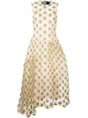 Платье с золотистыми звездами Simone Rocha. Цвет: телесный