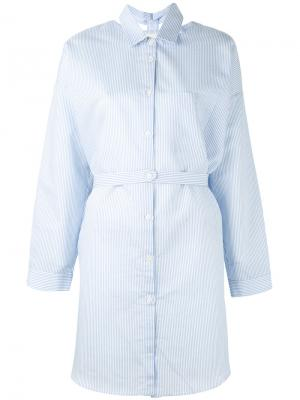Длинная рубашка в полоску Nanushka. Цвет: белый