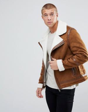 River Island Светло-коричневая куртка с подкладкой из искусственного меха Isl. Цвет: рыжий