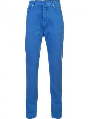 Зауженные брюки Kiton. Цвет: синий