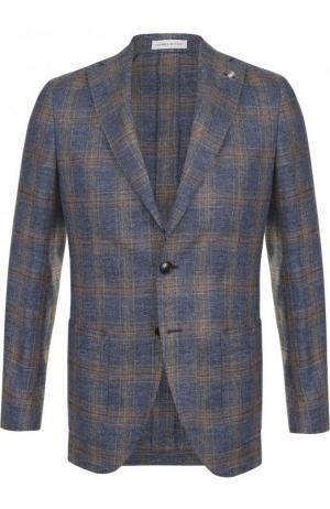 Однобортный пиджак из смеси льна и хлопка Sartoria Latorre. Цвет: синий