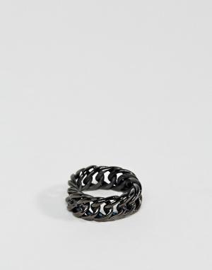 Steve Madden Кольцо-цепочка с крупными звеньями. Цвет: черный