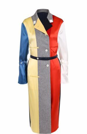 Платье-рубашка из смеси шелка и кашемира с поясом Thom Browne. Цвет: разноцветный