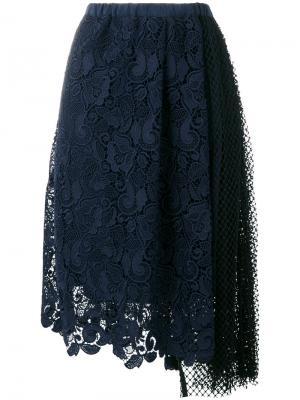Embroidered asymmetric skirt Nº21. Цвет: синий