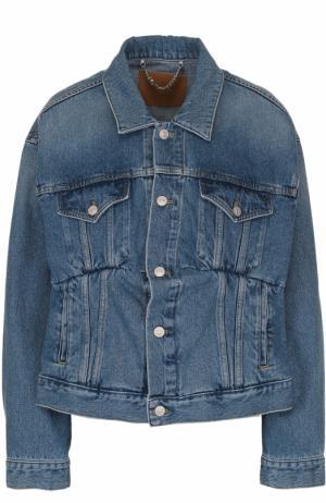 Джинсовая куртка свободного кроя с потертостями Balenciaga. Цвет: голубой