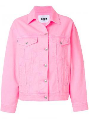 Джинсовая куртка MSGM. Цвет: розовый и фиолетовый