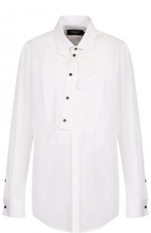 Однотонная хлопковая блуза Dsquared2. Цвет: белый