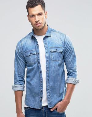 Replay Светлая джинсовая узкая рубашка. Цвет: синий
